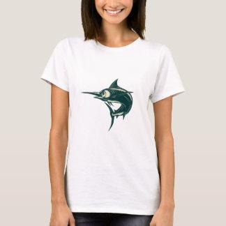 Blue Marlin Jump Scratchboard T-Shirt