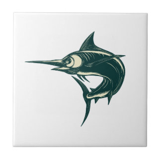 Blue Marlin Jump Scratchboard Tile
