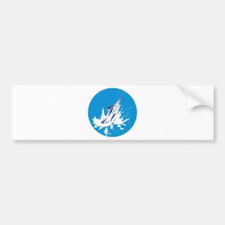 Blue marlin jumping bumper sticker