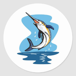 blue marlin jumping classic round sticker