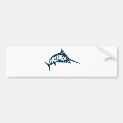 blue marlin jumping isolated on white bumper sticker