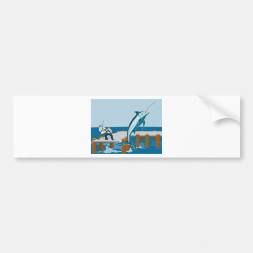 Blue marlin jumping with fisherman bumper stickers