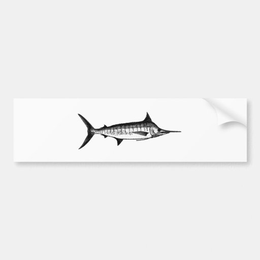 Blue Marlin Line Art Logo Bumper Sticker