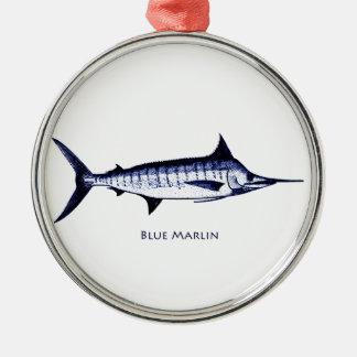 Blue Marlin Logo Metal Ornament