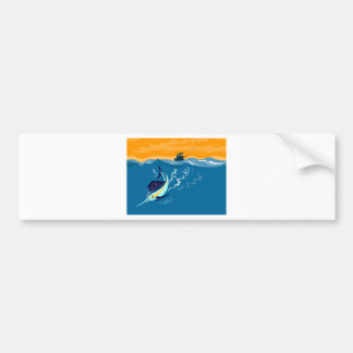 Blue marlin swordfish diving with fishing boat bumper sticker