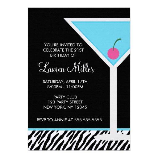 Blue Martini and Zebra Pattern Personalized Invites