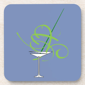 Blue Martini Glass Party Coasters