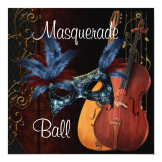 Blue Mask Musical Instruments  Masquerade Ball Inv Card