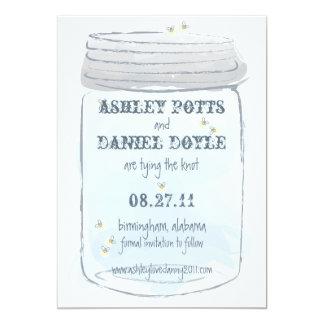 Blue Mason Jar & Fireflies Save the Date Card
