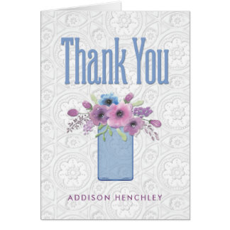 Blue Mason Jar Floral Bridal Shower Thank You Card