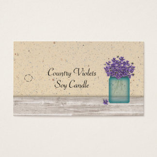 Blue Mason Jar Violets Hang Tag Business Card