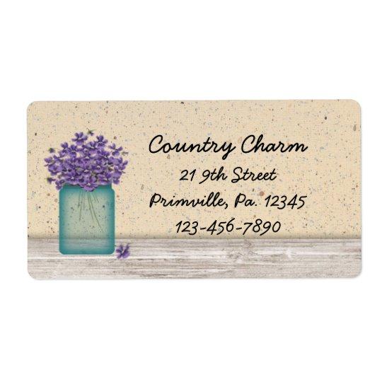 Blue Mason Jar Violets Label