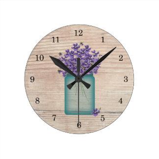 Blue Mason Jar Violets Wall Clock