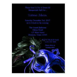 Blue Masquerade Ball Sweet Sixteen Birthday Postcard