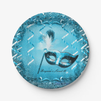 Blue Masquerade Mask Elegant Ball Party Paper Plate