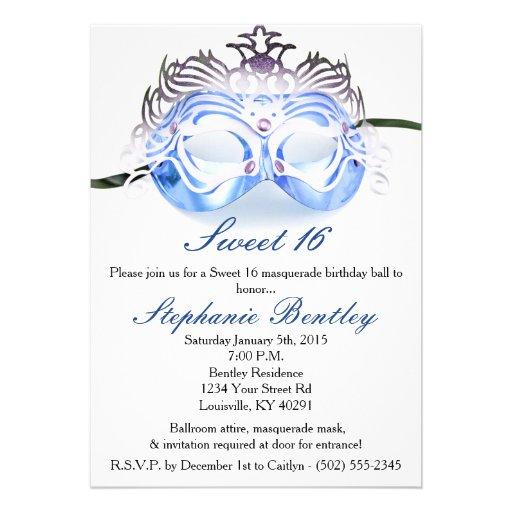 Blue Masquerade Zebra Sweet 16 Birthday Invitation