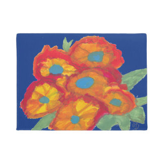 Blue Mat with Orange Flowers