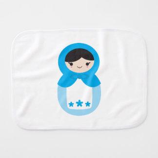 Blue Matryoshka Doll Burp Cloth