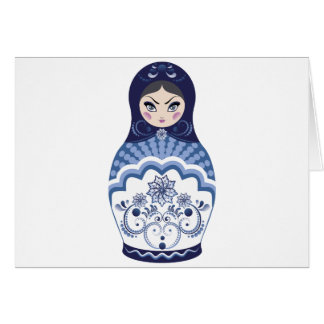 Blue Matryoshka Doll Card