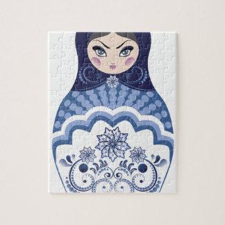 Blue Matryoshka Doll Jigsaw Puzzle