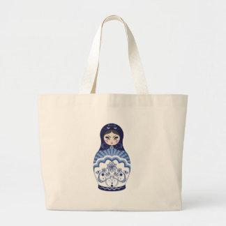 Blue Matryoshka Doll Large Tote Bag