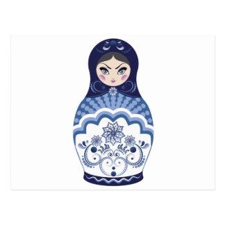 Blue Matryoshka Doll Postcard