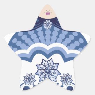 Blue Matryoshka Doll Star Sticker