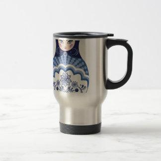 Blue Matryoshka Doll Travel Mug