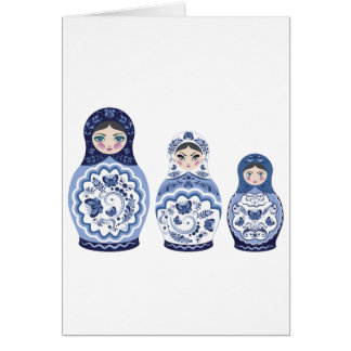 Blue Matryoshka Dolls Card