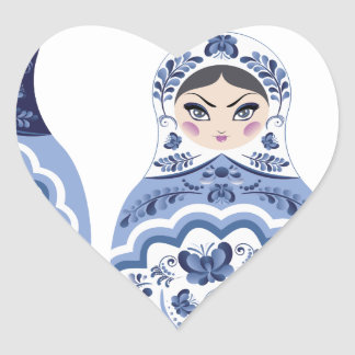 Blue Matryoshka Dolls Heart Sticker