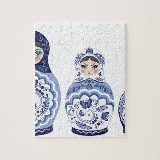 Blue Matryoshka Dolls Jigsaw Puzzle