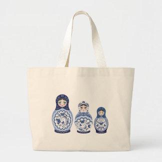 Blue Matryoshka Dolls Large Tote Bag
