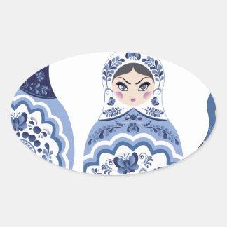 Blue Matryoshka Dolls Oval Sticker
