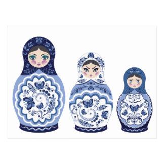 Blue Matryoshka Dolls Postcard