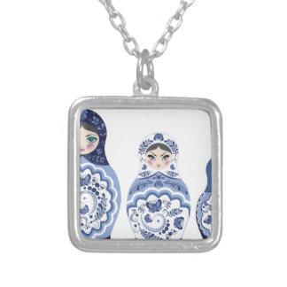 Blue Matryoshka Dolls Silver Plated Necklace