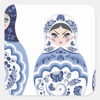 Blue Matryoshka Dolls Square Sticker