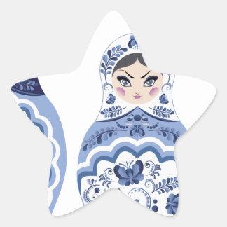 Blue Matryoshka Dolls Star Sticker