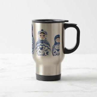 Blue Matryoshka Dolls Travel Mug