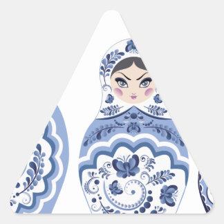 Blue Matryoshka Dolls Triangle Sticker