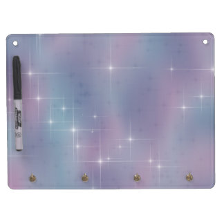 Blue Mauve Nebula Sparkle Dry Erase Board With Keychain Holder