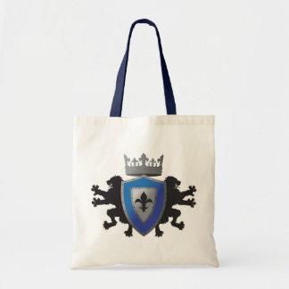 Blue Medieval Lion Heraldry Tote Bag