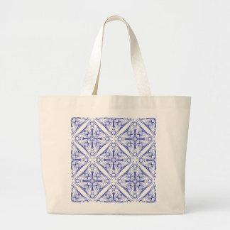 Blue Medieval Pattern Large Tote Bag