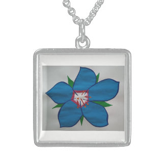 Blue Medium Sterling Silver Square Necklace