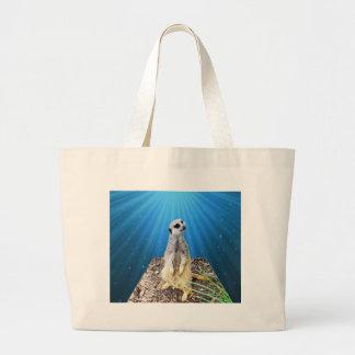 Blue Meerkat Night,_ Large Tote Bag