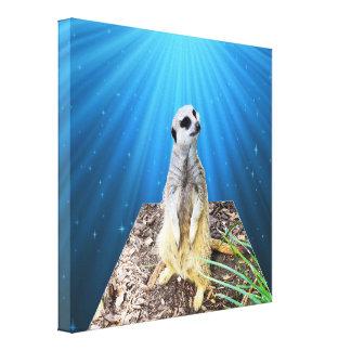 Blue Meerkat Twilight Dimensional Art, Canvas Print