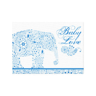 Blue Mehndi  Baby  Elephant Canvas Print
