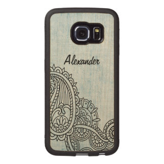 Blue Mehndi Motif Galaxy S6 Edge Wood Case