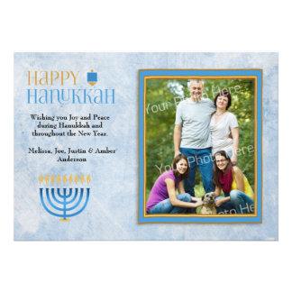 Blue Menorah Dreidel Happy Hanukkah Photo Card