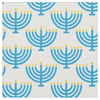 Blue Menorah Fabric