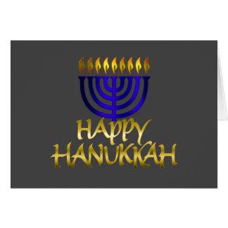 Blue Menorah Flames Happy Hanukkah Card